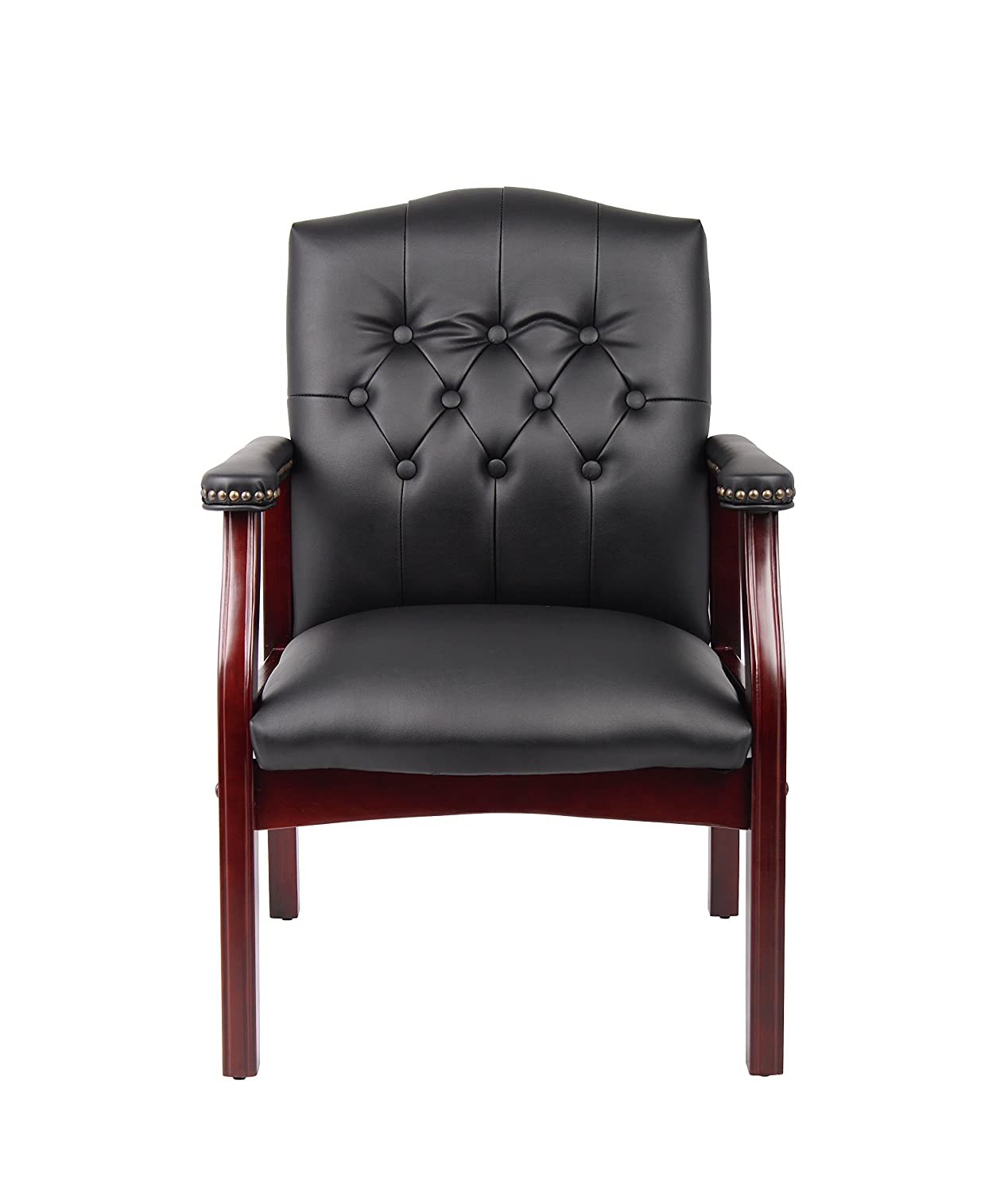 Burgundy Boss Office Products Traditional Guest Reception Waiting Room Chair