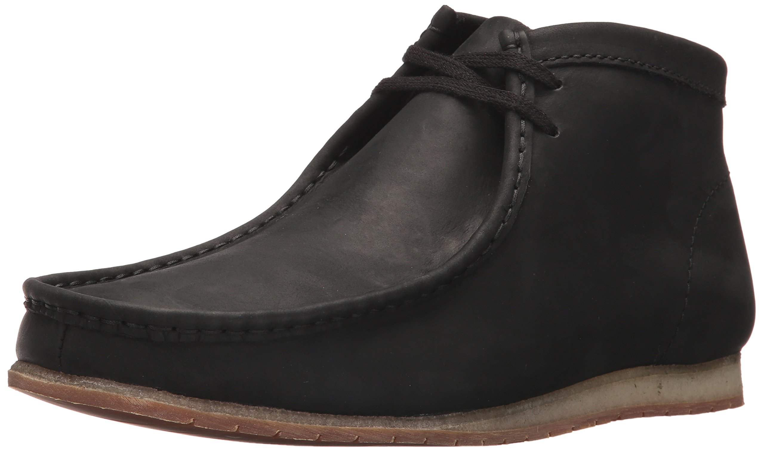 CLARKS Men's Wallabee Step Boot Chukka Boot, Black Leather, 9 M US
