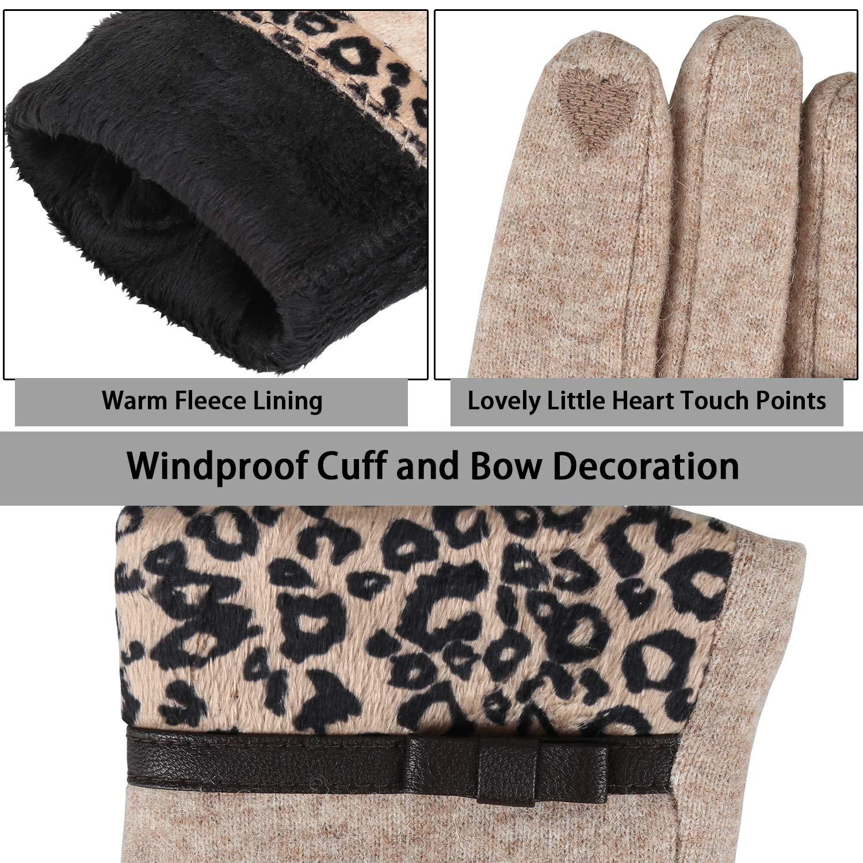 Bequemer Laden Winter Sport Handschuhe f/ür Damen Soft Touchscreen Fleece Handschuhe Casual SMS Handschuhe f/ür Outdoor Frauen Strick Winterhandschuhe mit Leopardenmanschette