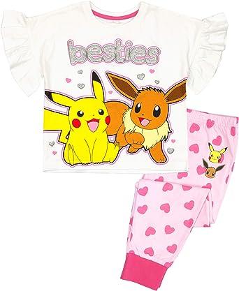 Vanilla Underground Pokemon Pikachu Besties Evoli Court Blanc de Fille Rose à Jambes Pyjama