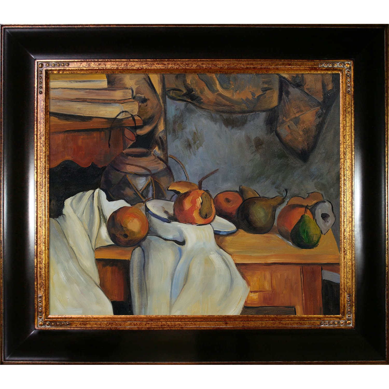 overstockArt CZ957-FR-240G20X24 Cezanne Ginger Pot with Pomegranate and Pears with Opulent Frame Dark Stained Wood with Gold Trim