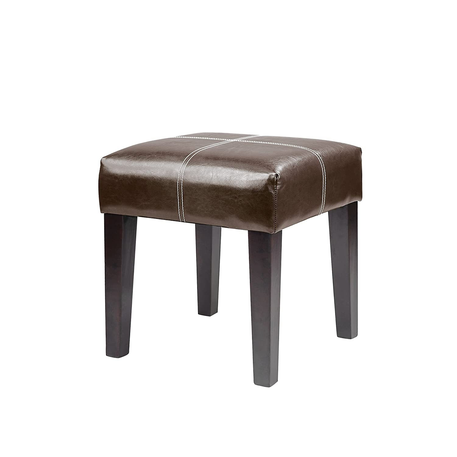 CorLiving Antonio Bench in Dark Brown Bonded Leather, 16-Inch