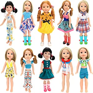 BM 10 Sets American 14.5 Inch Girl Doll Clothes Wellie Wishers Dolls Handmade Casual Wear Clothes and Other 14 -14.5 Inch Dolll