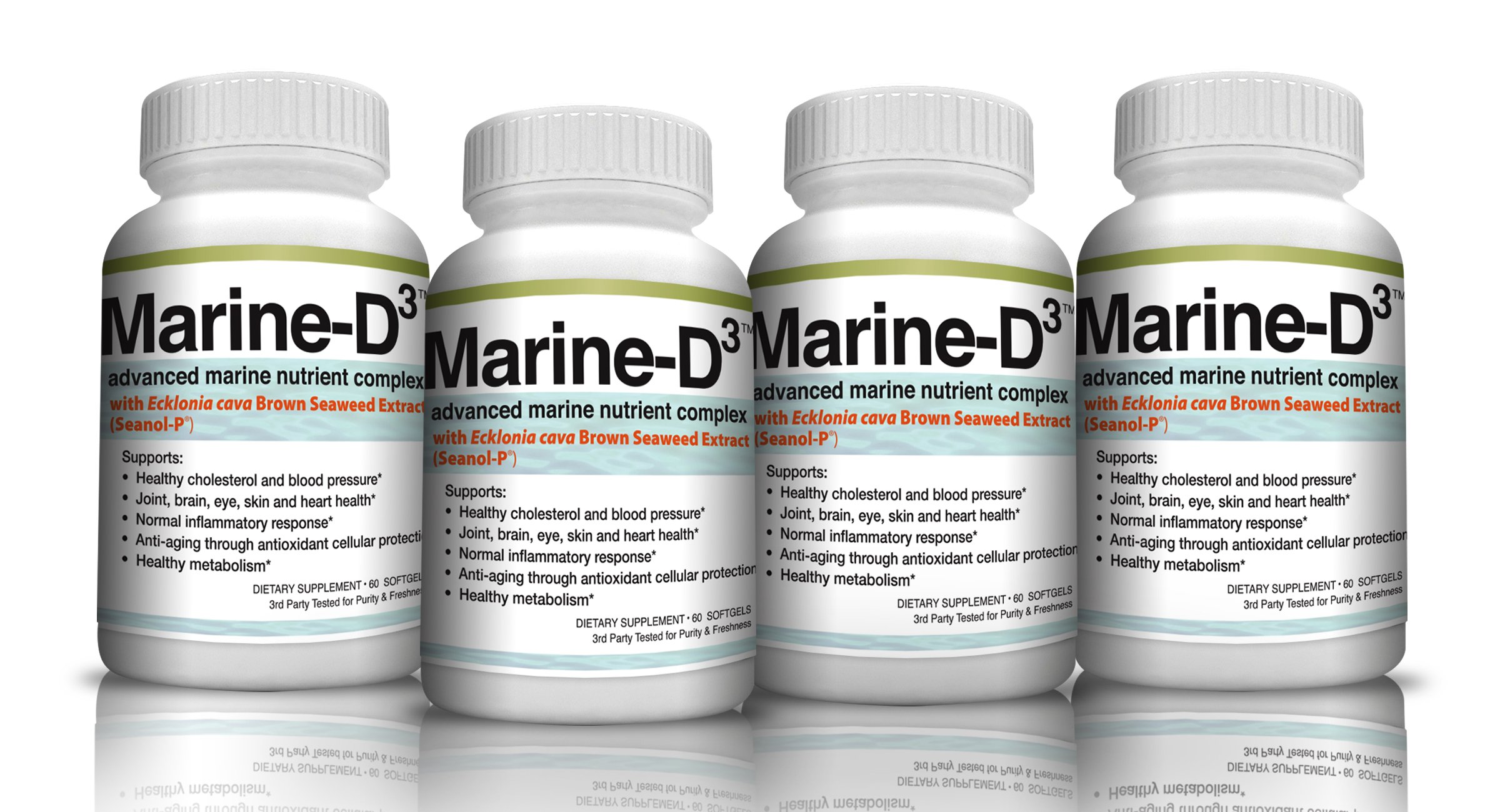 Marine-D3 340mg Anti-Aging Dietary Supplement with Vitamin D3, Omega 3 Fish Oil and DHA by Marine Essentials (240 Soft Gel Caps)