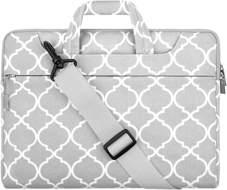 MOSISO Laptop Shoulder Bag Canvas Carrying Briefcase Sleeve Case Quatrefoil MO-QAF001