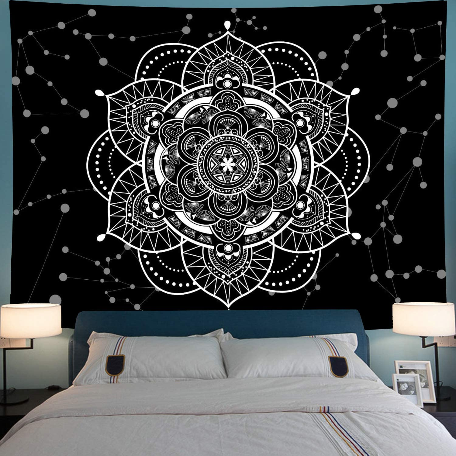 Leofanger Mandala Tapestry Blue Starry Mandala Wall Tapestry Galaxy Constellation Tapestry Wall Hanging Psychedelic Bohemian Indian Hippie Tapestry for Bedroom Decor