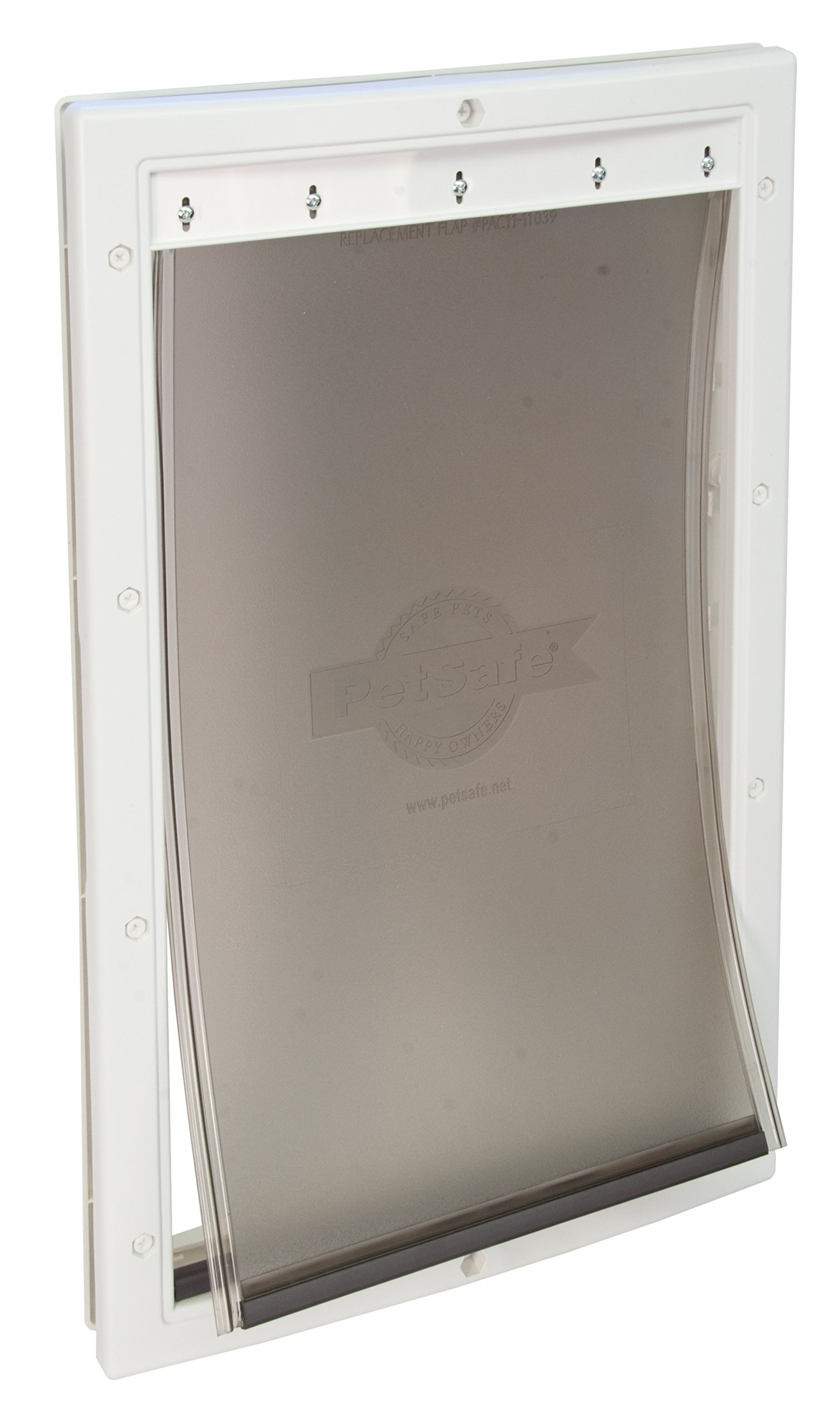 PetSafe Plastic Pet Door Large with Soft Tinted Flap, Paintable White Frame, for dogs up to 100 lb.