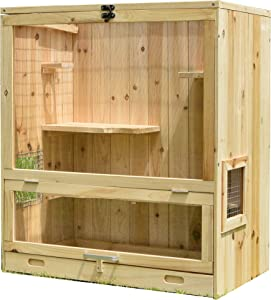 Aluora Wooden Indoor Chinchilla Ferret Cage - Small Animals House Multi Storey with Glider Pet Home for Hamsters Size L 25.4 W 18.6 H 29.2 Inches Enclosure