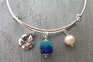 """product image for Handmade in Hawaii,""""Blue Hawaii"""" Matching bracelet, Hibiscus charm, freshwater pearl, Hawaiian Gift, (Hawaii Gift Wrapped, Customizable Gift Message)"""