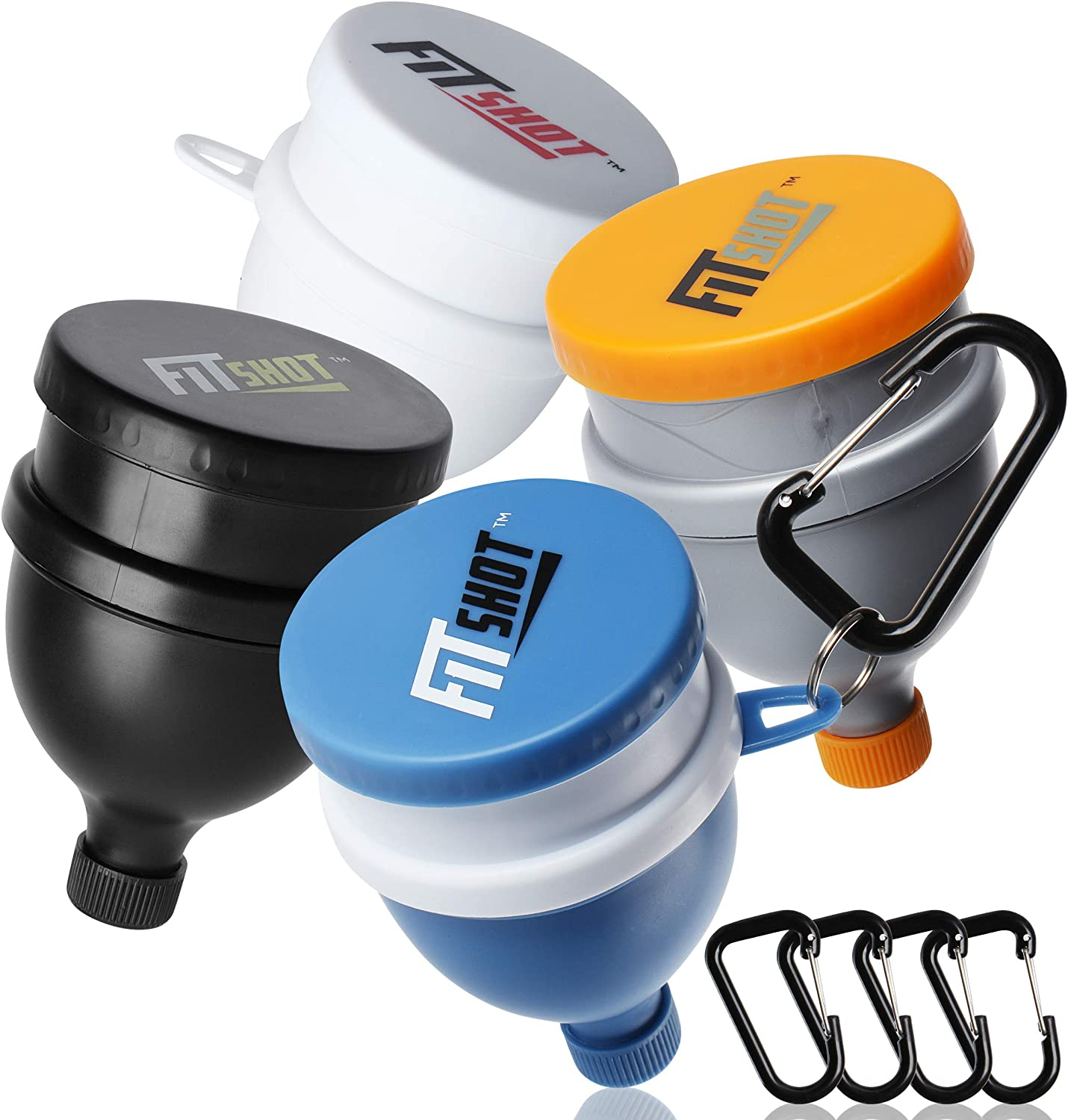 FitShot Protein Powder Funnel– Supplement Funnel with Keychain 4pack, Water Bottle Funnels, BPA Free, 2 in 1,Portable 120ml with Pillbox,Pre Workout Protein Powder Container to go