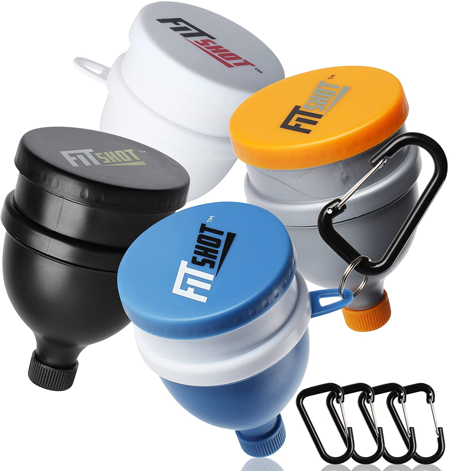 Fitshot Protein Powder Funnel– Supplement Funnel with Keychain 4pack, Water Bottle Funnels, BPA Free, 2 in 1,Portable 120ml with Pillbox ,Pre Workout Protein Powder Container to go
