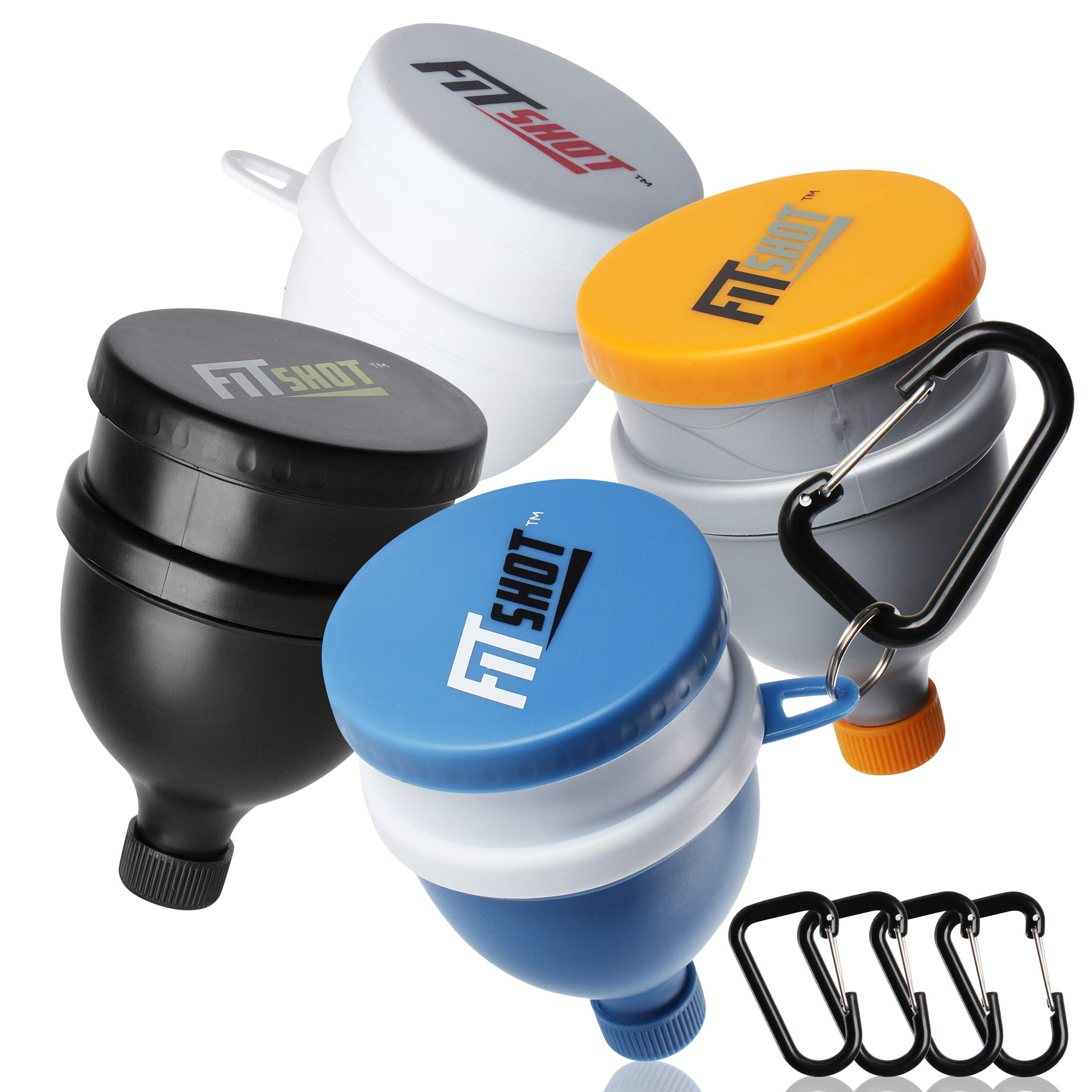 FitShot Protein Powder Funnel- Fill N Go Supplement Funnel with Keychain 4pack, Water Bottle Funnels, BPA Free, 2 in 1,Portable 120ml with Pillbox,Pre Workout Protein Powder Container to go by FitShot