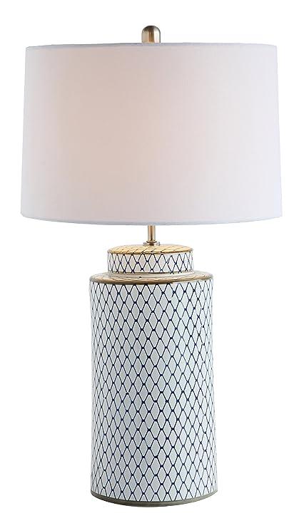 9963d99eb971 Amazon.com: Creative Co-op Indigo & White Ceramic Table lamp with Linen  Shade: Home & Kitchen
