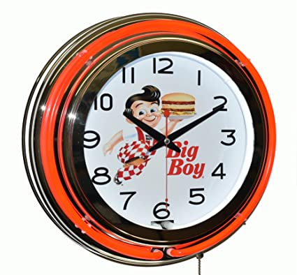 Bob's Big Boy Diner Red Double Neon Advertising Clock Wall Decor