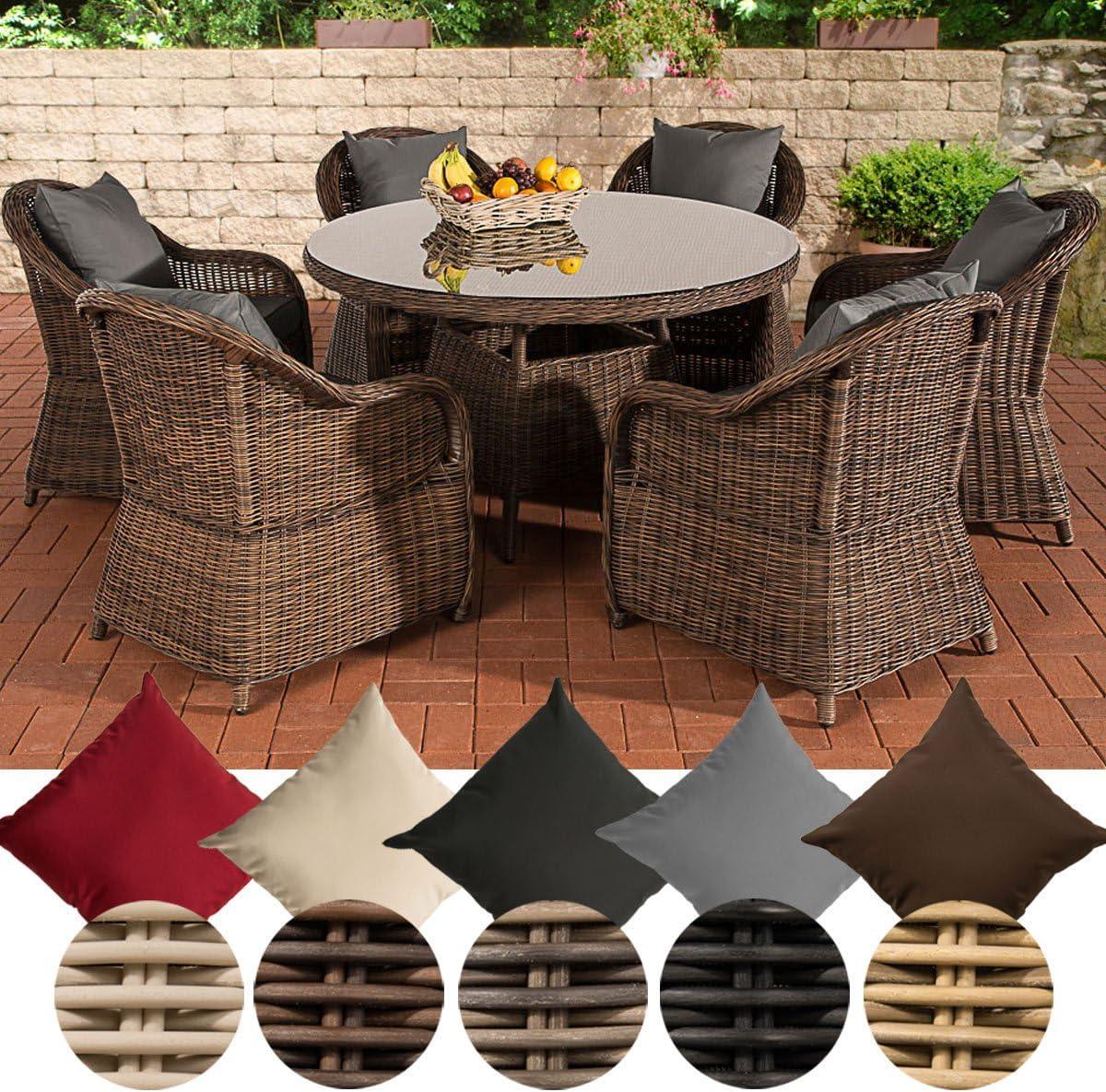 CLP-Funda para Mesa y sillas de jardín Resina Trenzada, Color marrón mármol de Stavanger, 6 sillas Mesa Redonda diámetro: 130 cm, 3 Unidades, Marron marbré, Gris ...