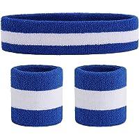 OnUpgo Sweatband Set Sports Headband Wristband Set Sweatbands Terry Cloth Wristband Athletic Exercise Basketball Wrist Sweatband and Headbands Moisture Wicking Sweat Absorbing Head Band