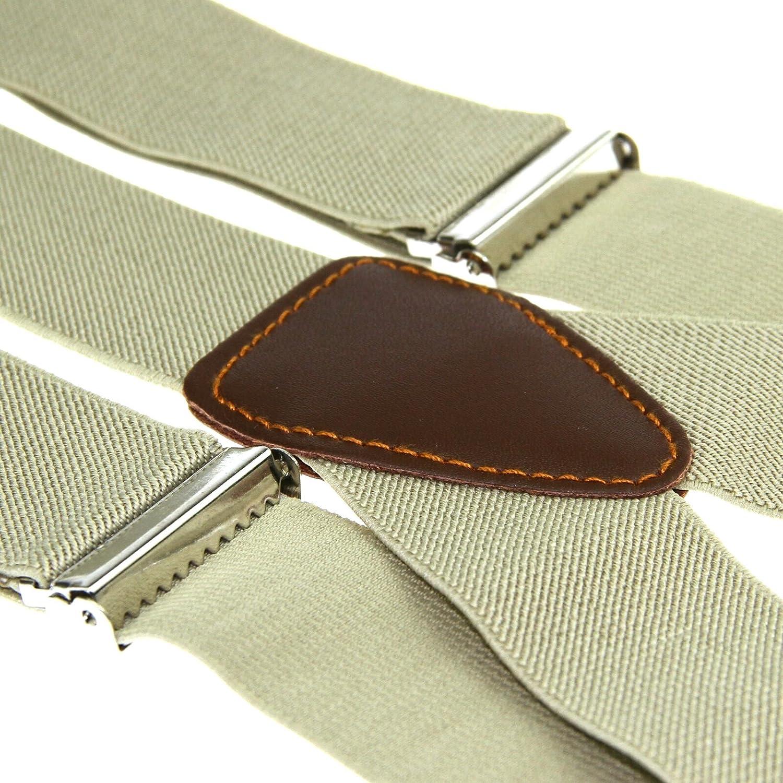 Enwis Mens Suspenders Braces Polyester Elastic Button Holes Solid Beiges BD701