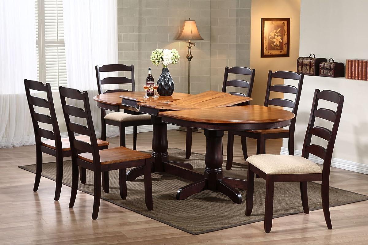 "Iconic Furniture Oval Dining Table, 42"" x 90"", Whiskey Mocha Finish"