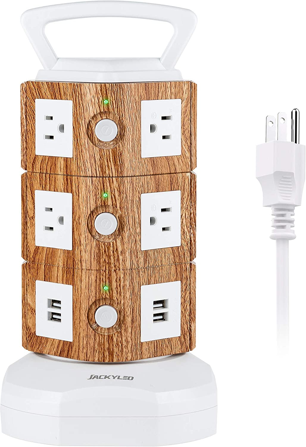 JACKYLED Power Strip Tower Surge Protector 10 AC Outlets and 4 USB Ports with 6.5ft Heavy Duty Extension Cord Electric Charging Station for Home Office Dorm Laptop Computer White and Light Walnut