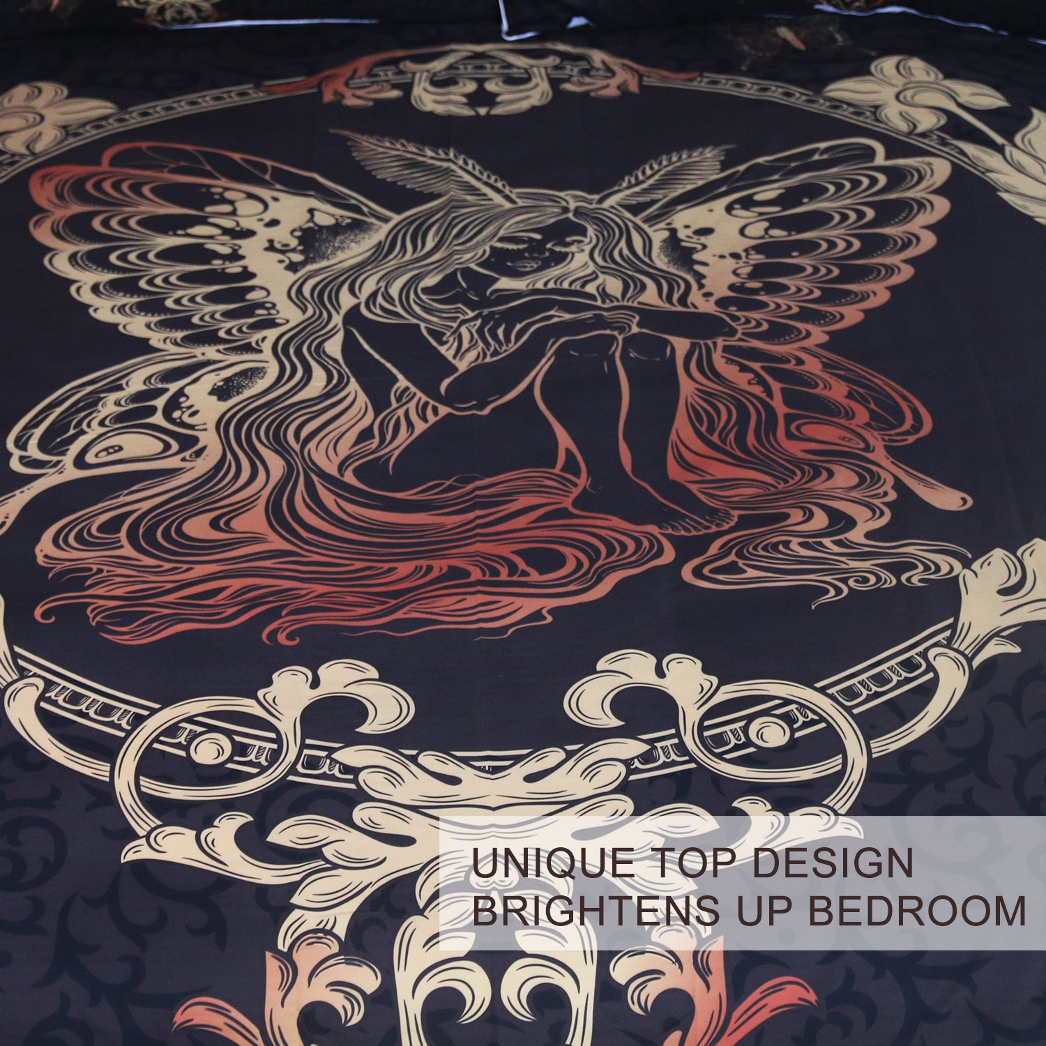 King BlessLiving Fairy Butterfly Girl Bedding 3 Piece Gold Paisley Duvet Cover Set Girly Bedspreads Chic Home Black Bed Cover