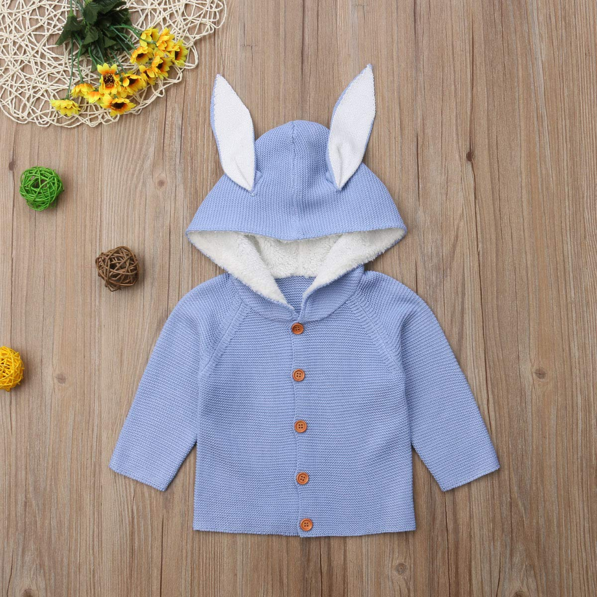 Newborn Baby Girl//Boy Long Sleeve Knitted Sweater Cardigan Rabbit Ear Hooded Outerwear Jacket Winter Warm Clothes