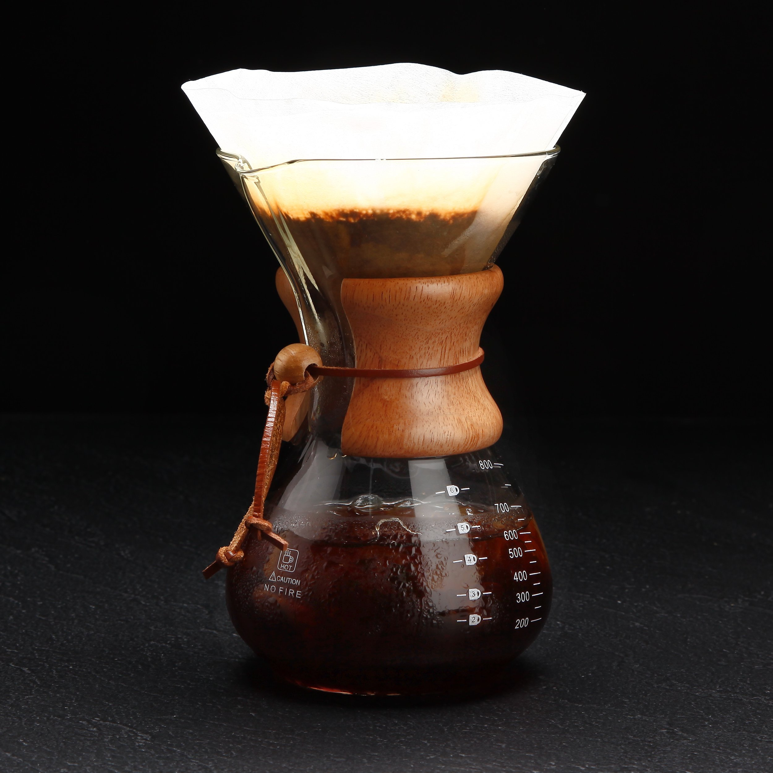 Pour Over Coffee Maker   Classic Hand Drip Brewer for Paper Filter   Hand Crafted Strong Borosilicate Glass with Lid, Easy Clean and Better Coffee by LePrem (Image #6)