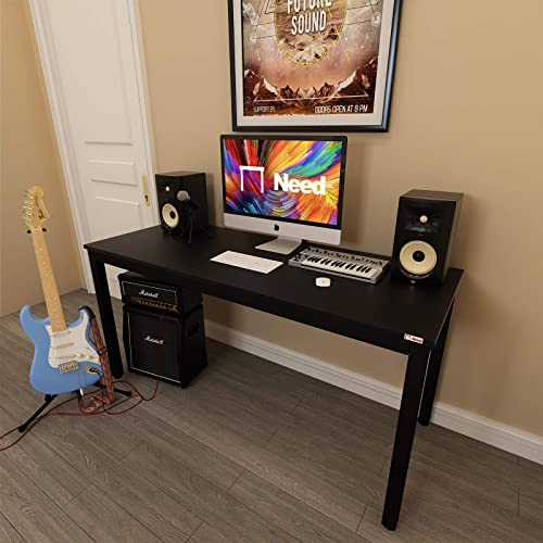 Need Computer Desk 60 Inch Large Modern Home Office Table,Business Style Black Sturdy Wide PC Workstation,Simple Style Study Writing Desk