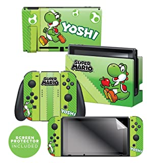 "Controller Gear Nintendo Switch Skin & Screen Protector Set, Officially Licensed By Nintendo - Super Mario Evergreen ""Yoshi Eggs"" - Nintendo Switch"