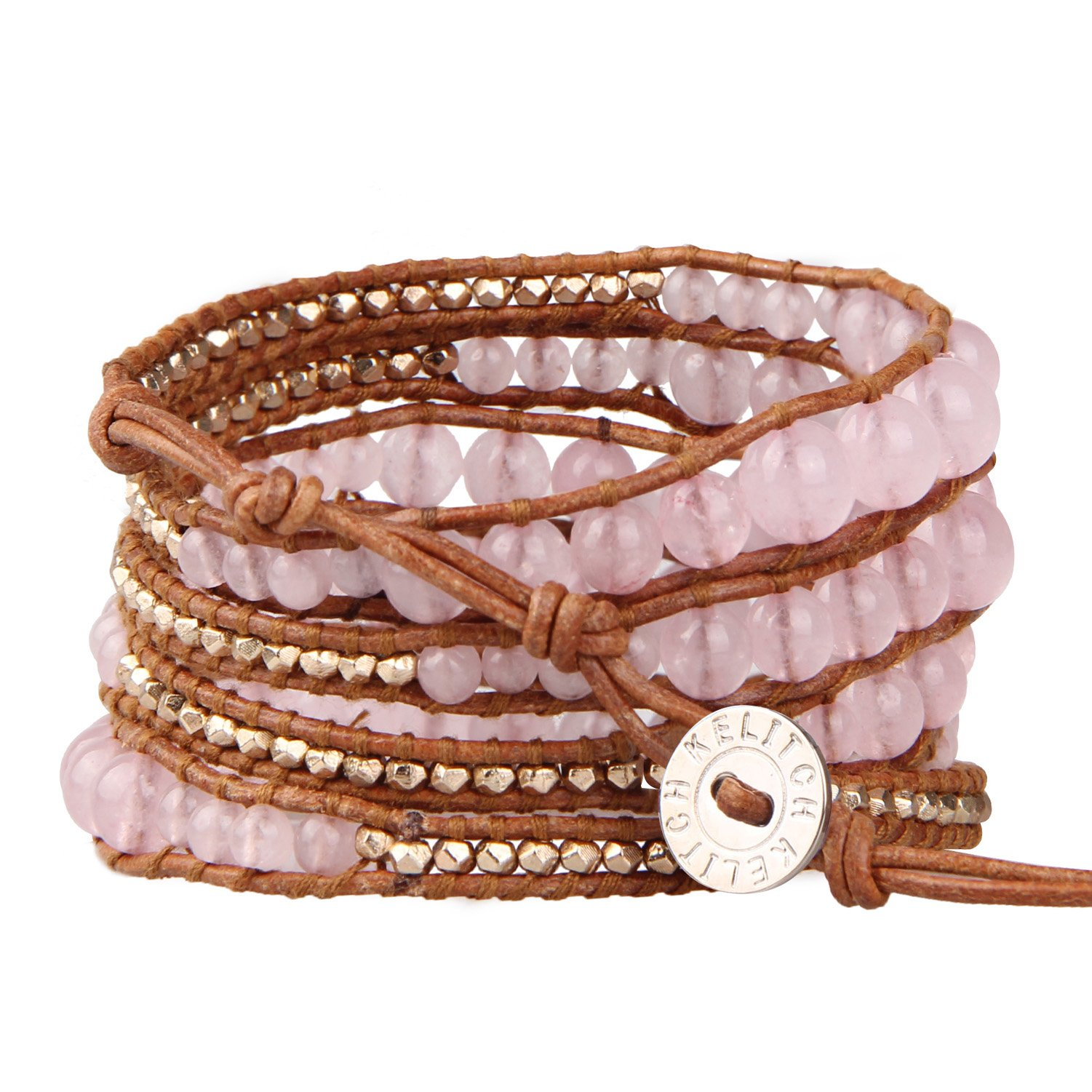 KELITCH Pink Crystal Rose Gold Beaded 5 Wrap Braceleton Natural Leather Fashion Tennis Bracelet New