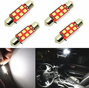 Alla Lighting 6418 6411 C5W LED Bulbs 800 Lumens Extremely Super Bright 6000K White 36mm High Power 3030 SMD DE3425 Replacement for Interior Festoon Map Dome Trunk License Plate Trunk Lights