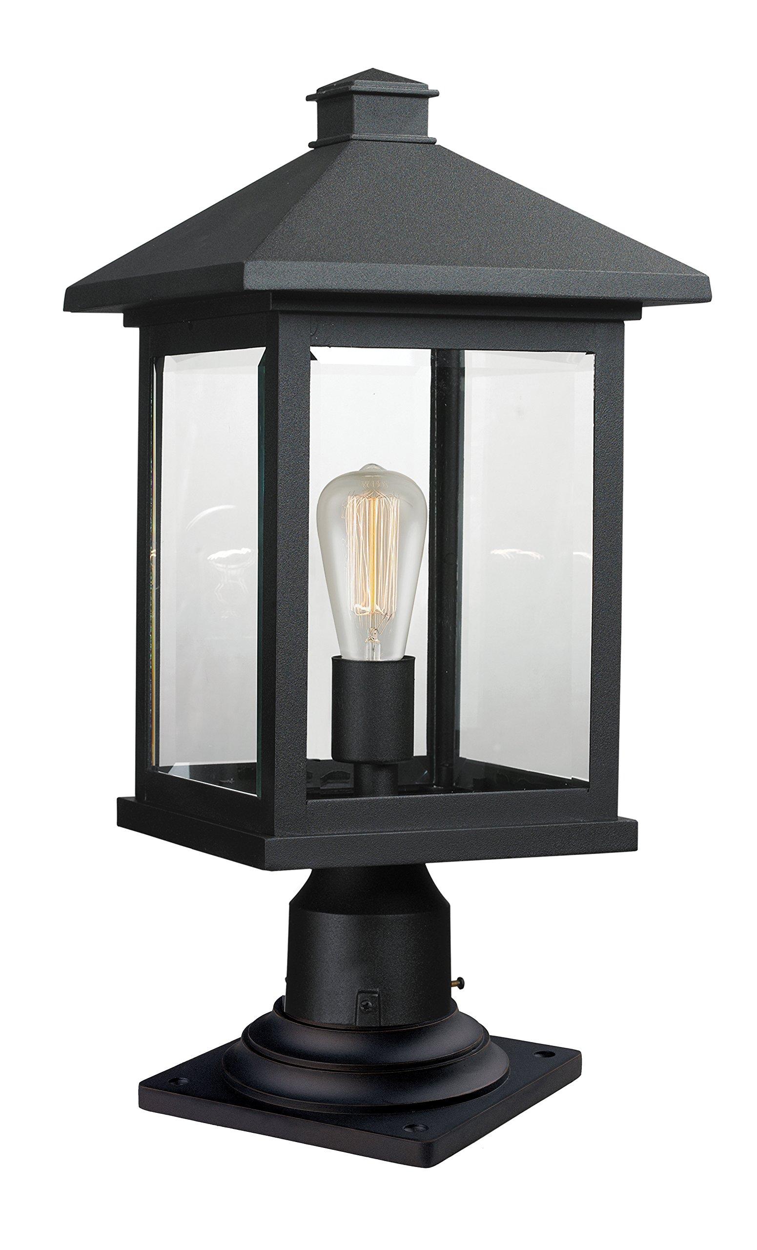 Z-Lite 531PHBR-533PM-BK 1 Outdoor Pier Mount Light, Black