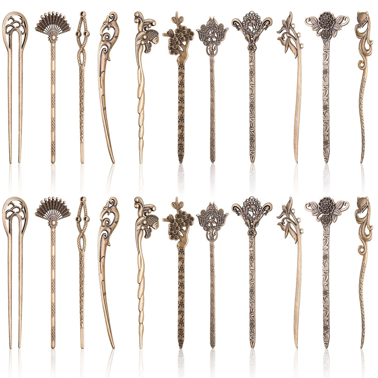 Duufin 22 Pieces Hair Sticks Vintage Bronze Chinese Hair Chopstick Retro Hair Fork for Women by Duufin