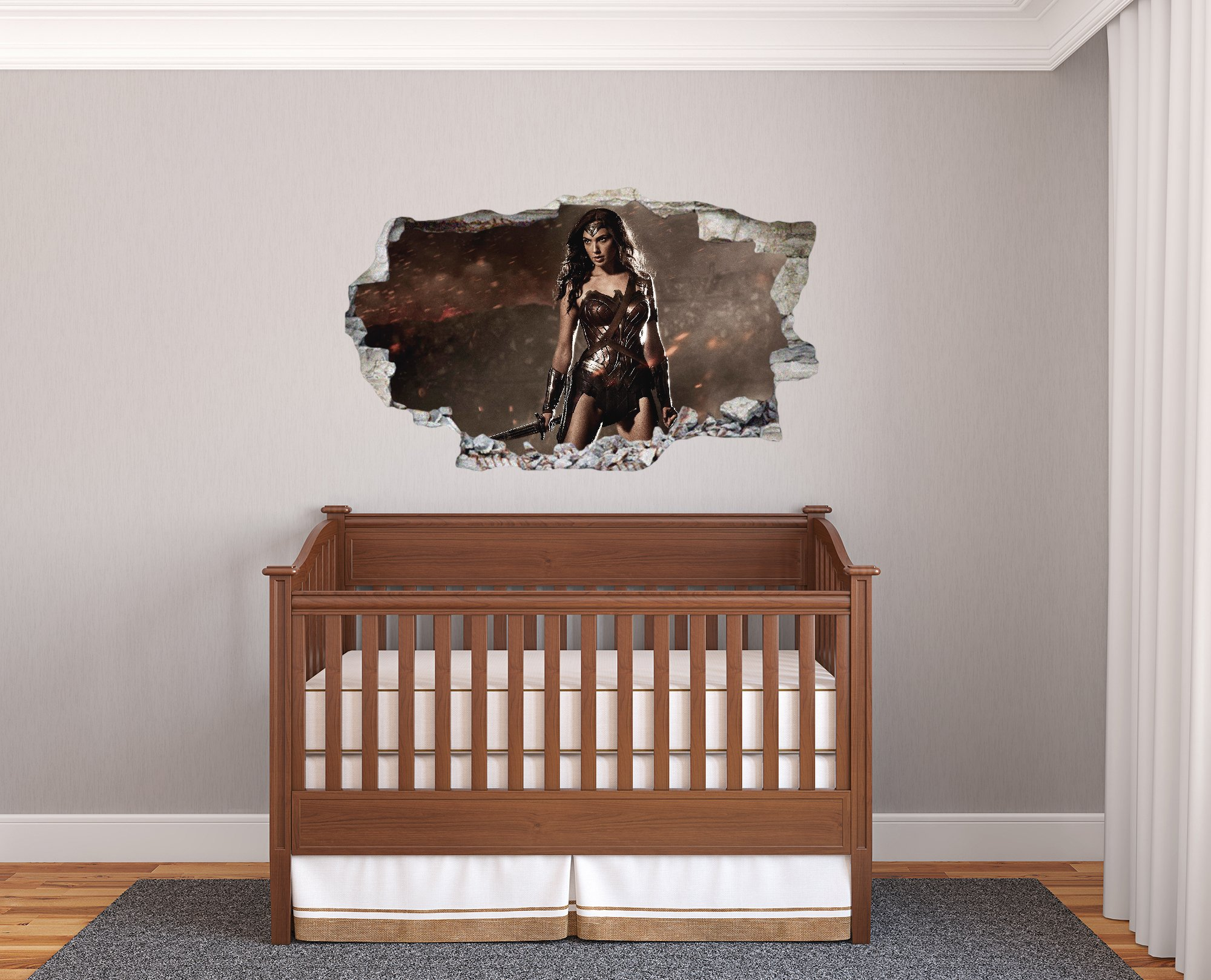 Wonder Woman 3D Effect - Brake Wall Effect 3D - Wall Decal For Room Boys Girls Unisex ((Wide 15''x9'' Height))