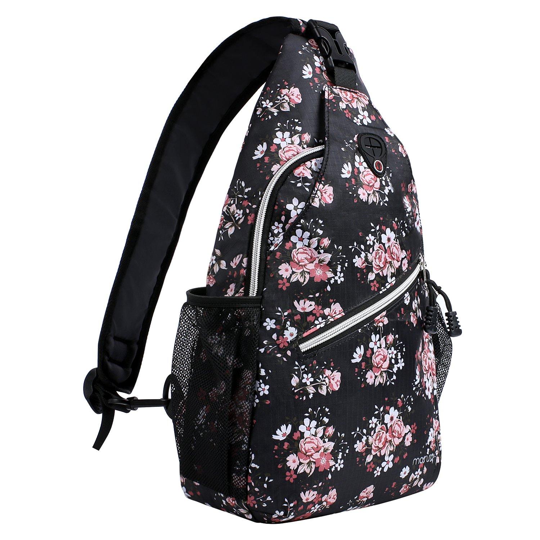 MOSISO Sling Backpack, Multipurpose Crossbody Shoulder Bag Travel Hiking Daypack, Black Base Floral
