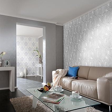 Carat Geometric Glitter Wallpaper White And Silver 113345 20