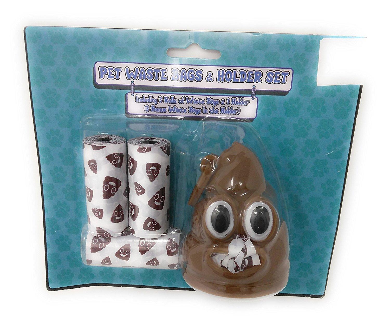 Adorable Emoji POOP Printed Dog Waste Bags - 3 Rolls / 3 Bonus Poop Waste Bag in holder Cute Waste Bags For Your Furbaby!