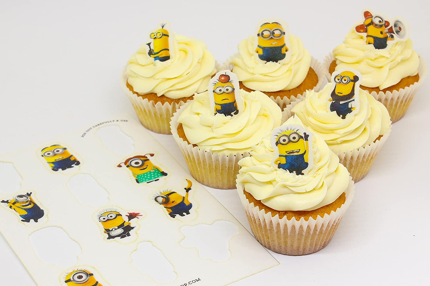 Cakeshop 12 x PRE-CUT Despicable Me Minions Stand Up Edible Cake ...