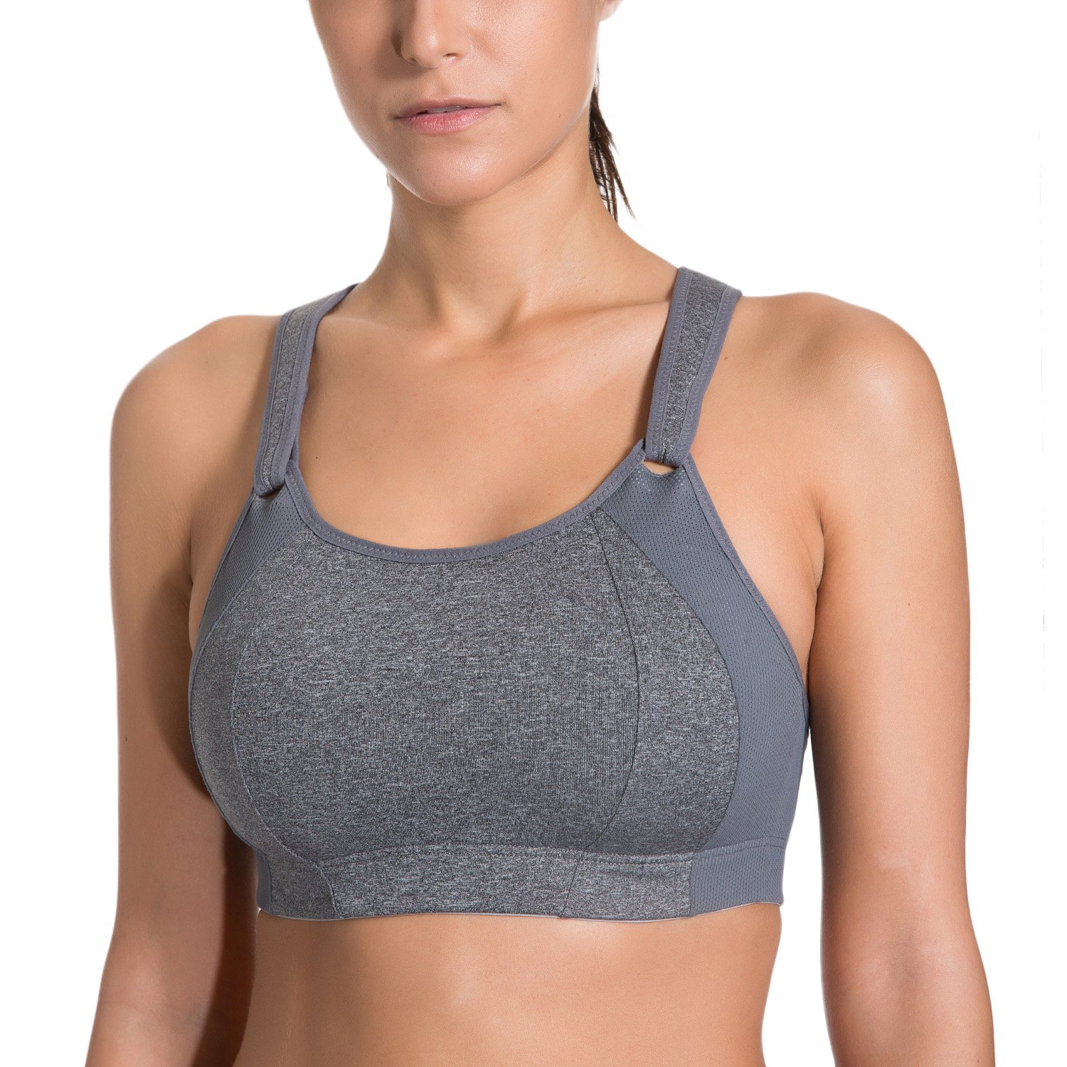 SYROKAN Women's Front Adjustable Lightly Padded Racerback High Impact Sports Bra Grey 34DD