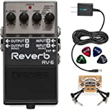 BOSS RV-6 Digital Reverb Pedal BUNDLED WITH 2 Pack of Blucoil Pedal Patch Cables, Power Supply Slim AC/DC Adapter for 9 Volt DC 670mA AND 4 Celluloid Guitar Picks