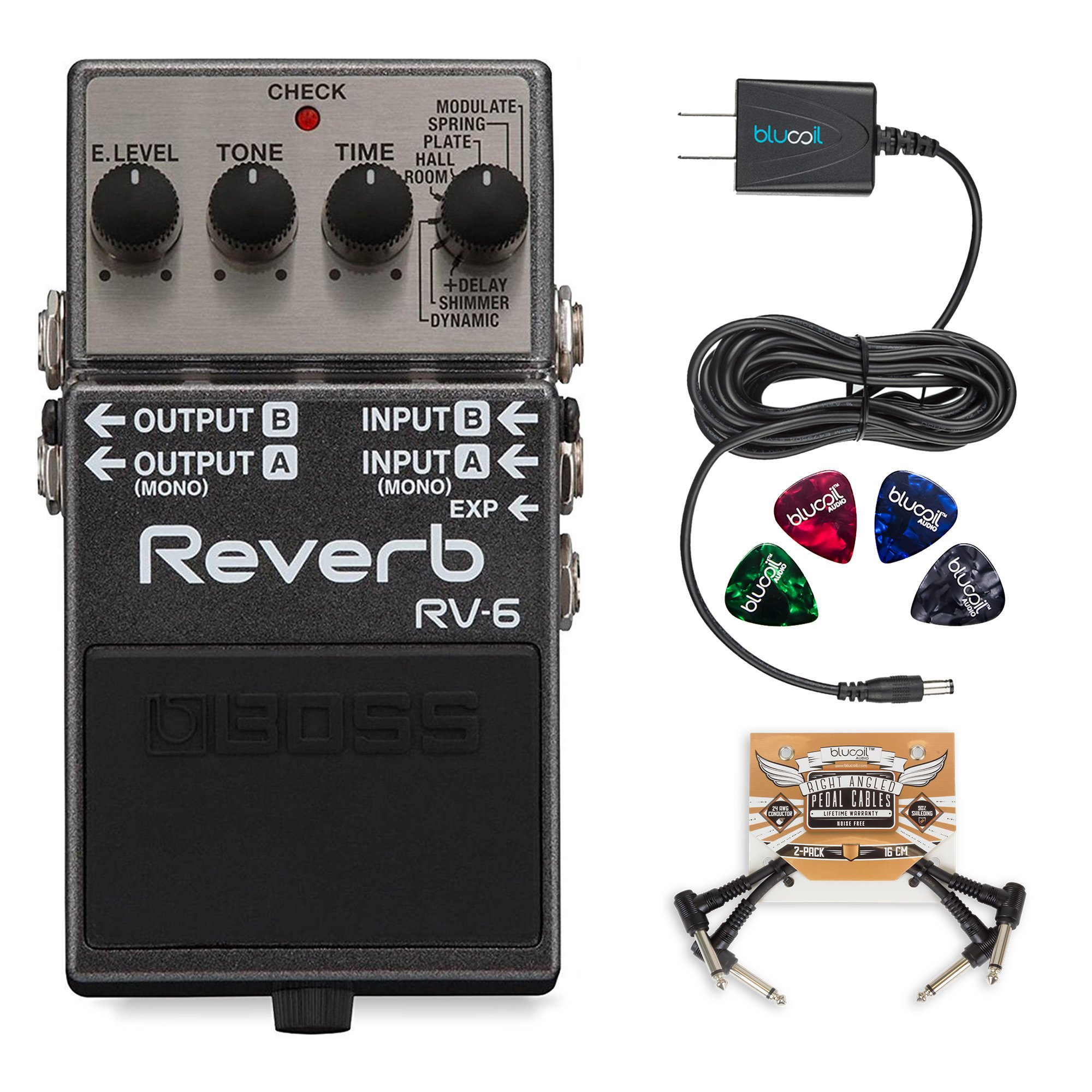 boss rv 6 digital reverb pedal bundle with 2 pack of blucoil pedal patch cables slim 9v 670ma. Black Bedroom Furniture Sets. Home Design Ideas