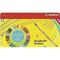 Stabilo Point 88 - Bolígrafo de punta fina, 25 unidades, varios colores, Variados, Pack of 50