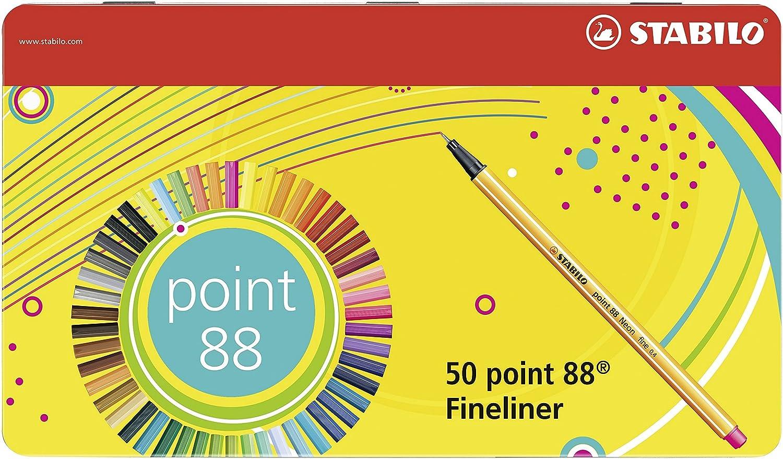 Stabilo Point 88 Penna Fineliner - Scatola Di Metallo da 50 Colori Assortiti 8850-6
