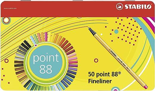 6 opinioni per Stabilo Point 88 Penna Fineliner- Scatola Di Metallo da 50 Colori Assortiti