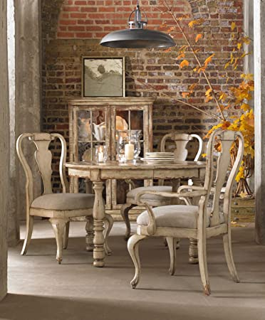 hooker dining table furniture round leg leaf taupe