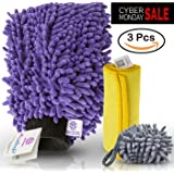 [3 piece] MicroCareful Car Wash Mitt Bundle with 4 Bonuses, Professional Microfiber Lint Free, Scratch Free Washing Kit for Vans, Taxis and Automobiles