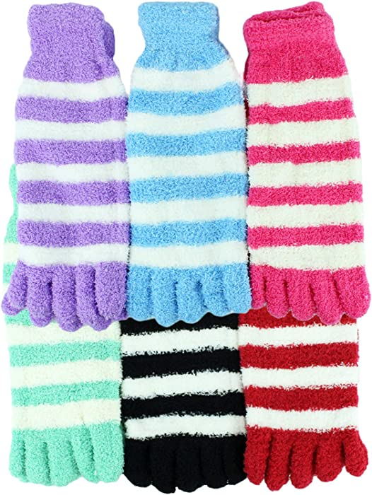 Amazon Fuzzy Toe Socks By Bogo Brands Colors May Vary 6 Pair