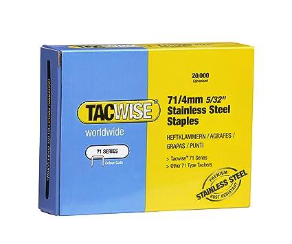 Tacwise 1126 Grapas de acero inoxidable de tipo 71/4 mm, 71/4mm, Set de 20000 Piezas