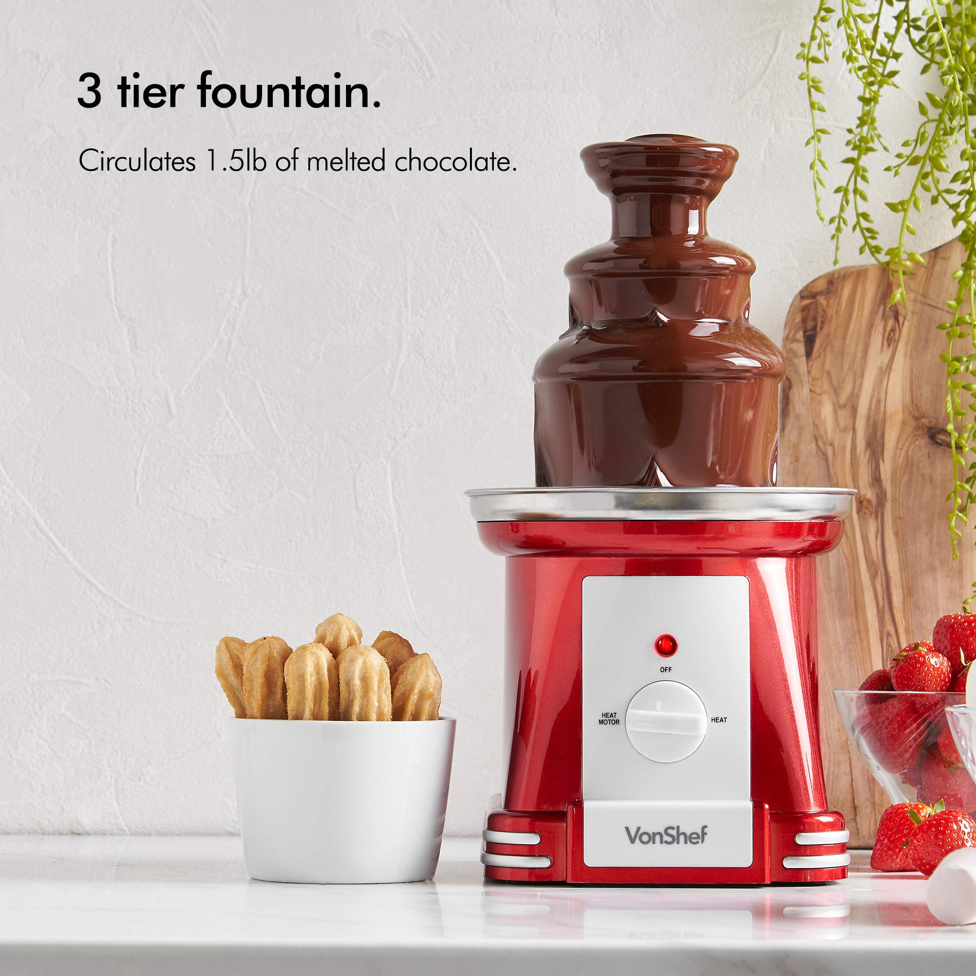 VonShef Retro Electric Chocolate Fountain Machine – 3 Tier Chocolate Fondue Maker with Quiet Motor for Dessert/Dipping for Parties, Weddings by VonShef (Image #2)