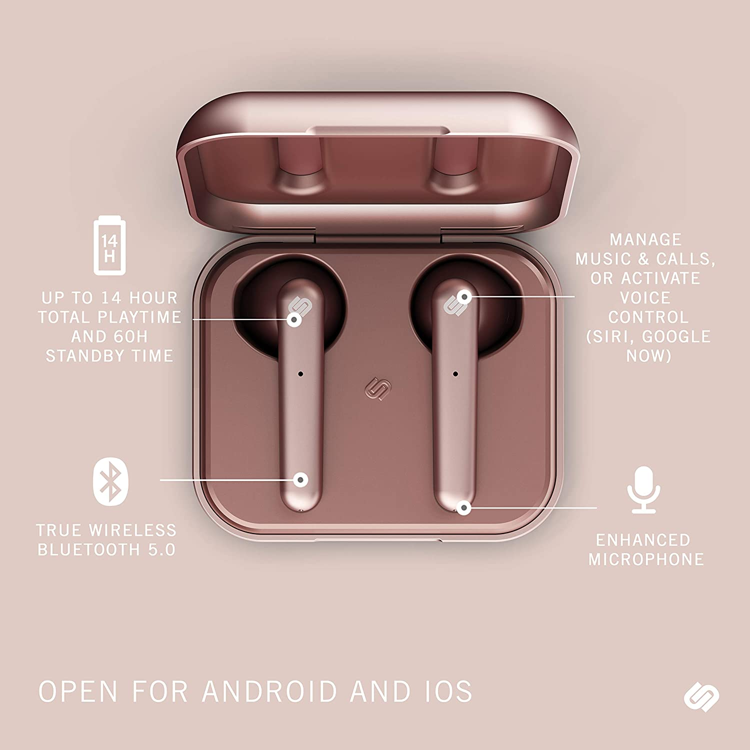 Urbanista Stockholm True Wireless Earbuds 14H Playtime Bluetooth 5.0 with Charging Case, Touch Controls Dual Mic Earphones Compatible with Android and iOS – Rose Gold