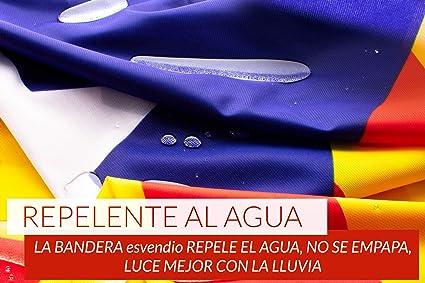 Bandera Independentista Catalana Grande Exterior de Tela Fuerte Impermeable Resistente a la Intemperie, Bandera Estelada Catalana 150x90 cm: Amazon.es: Jardín